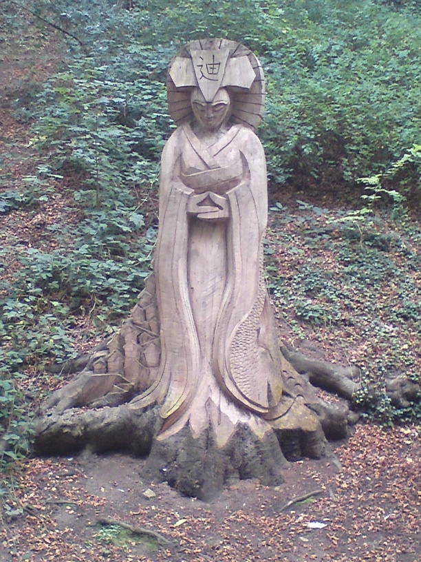 A tree carving in the glen near Peasholm Park, Scarborough, England.