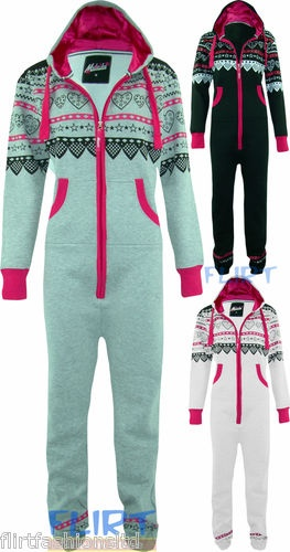 UNISEX Onesie Mens Womens Hooded All In One Playsuit Aztec Heart Zip Up Suit New
