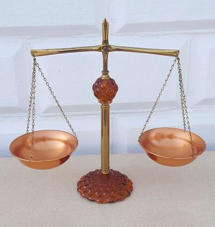 Vintage Princess House Scales of Justice Amber Orange Glass Brass Copper Balance