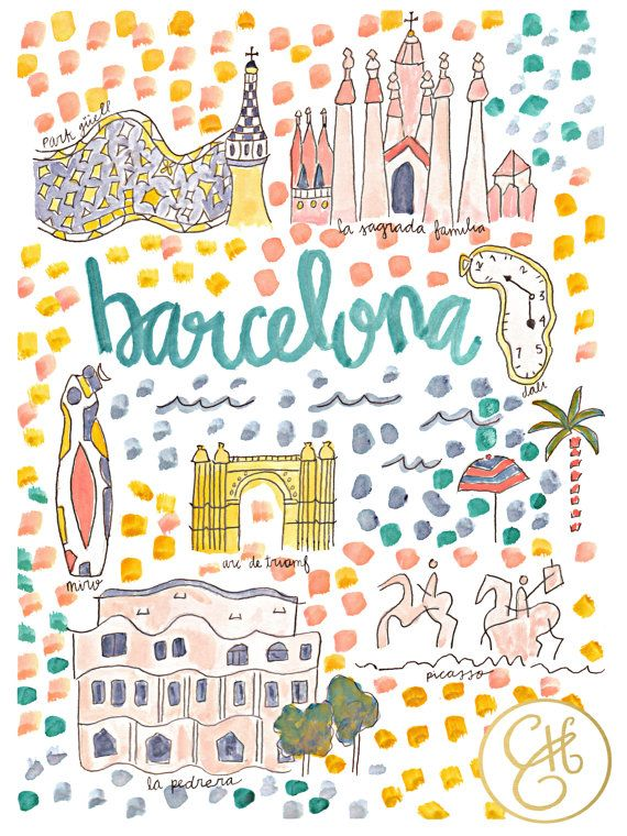 Barcelona Map Print by EvelynHenson on Etsy