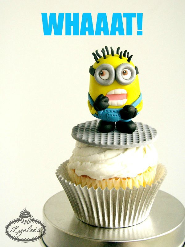 Fondant Minion on Top of a Cupcake