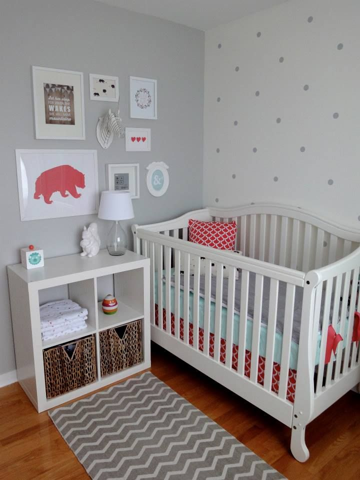 Adore this eclectic #gallerywall and polka dot accent wall! #nurseryCoral,  Cot, Polka Dots Wall, Projects Nurseries, Cribs, Gallery Wall, White Wall, Dreamy Nurseries, Accent Wall