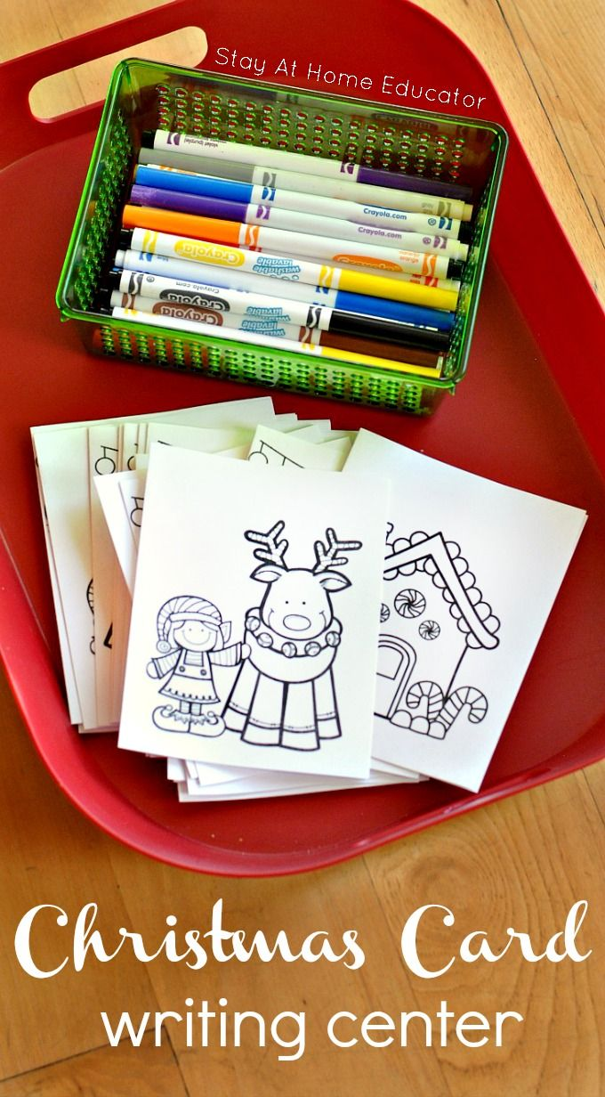 Christmas Writing Center for Preschoolers - Stay At Home Educator - writing holiday cards