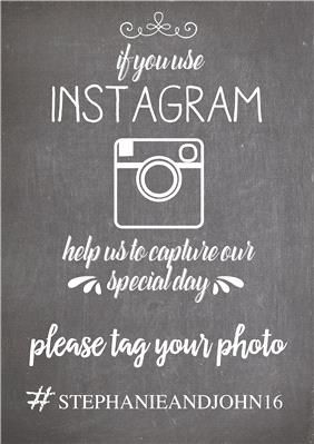 Instagram Chalkboard Printable Sign, perfect for weddings. Wedding Instagram Sign. Customise with your own text. To get your instant download click here: http://www.appleberrypress.com/wedding_shop_printable-sign