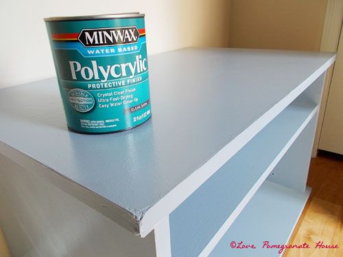 How to Paint Laminate Furniture - sand, Kilz Latex Primer, paint, Minwax Polycrylic Protective Finish