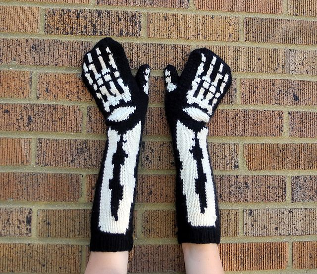 Ravelry: Skeleton Mittens pattern by Dyeabolical