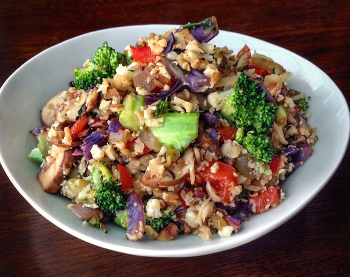 "There is no rice—and barely any frying—involved in this ""fried rice"" recipe. #cauliflowerrice #healthyrecipes #brunch"