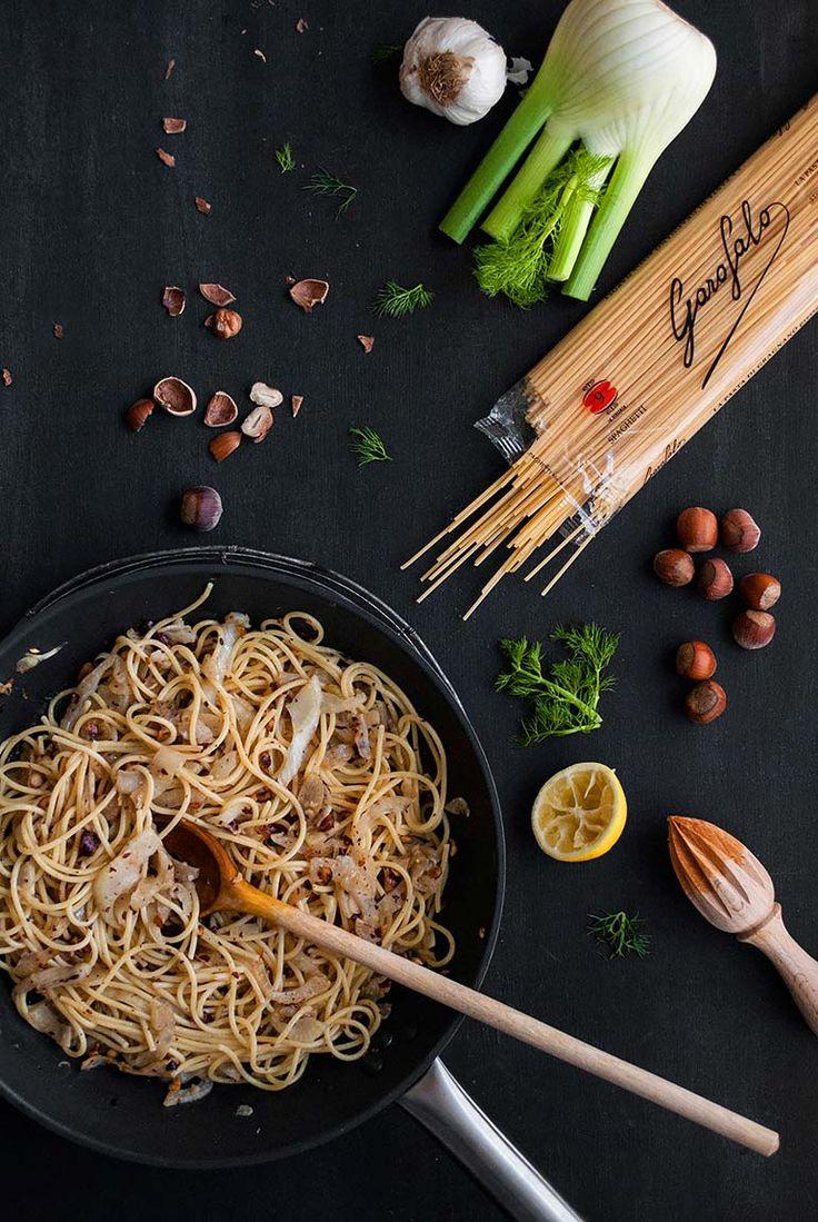 Spaghetti mit Fenchel in Haselnussbutter vegan
