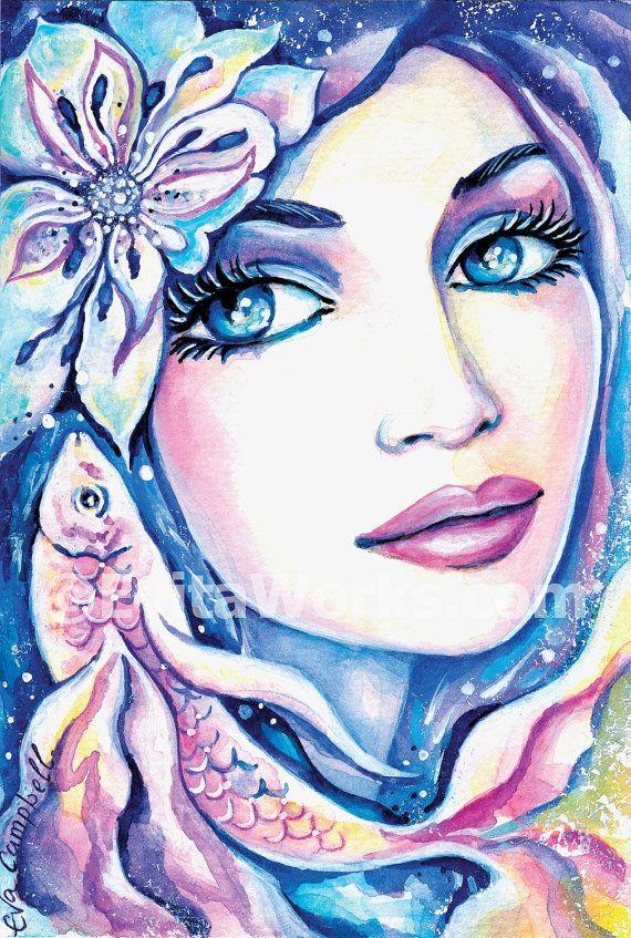 Meerjungfrau Mode print Gesicht Geschenkideen von EvitaWorks