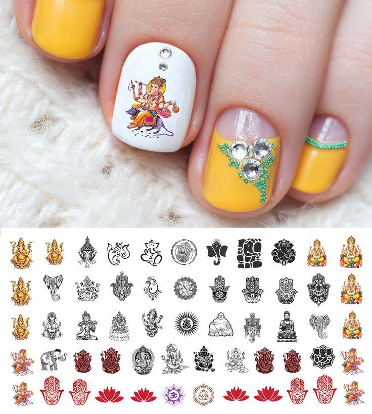 Mejores 18 imágenes de Hamsa Hand / Ganesha Nail Art Decals en ...