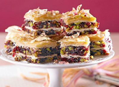 Pistachio and cranberry baklava