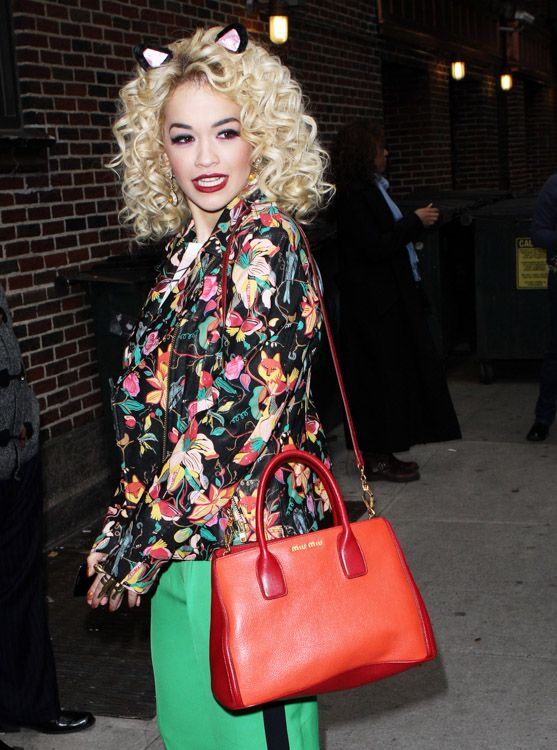 Rita-Ora carried Miu Miu Bicolor Textured Tote. $219+FREE shipping+pn-line payment. leave a message for more info