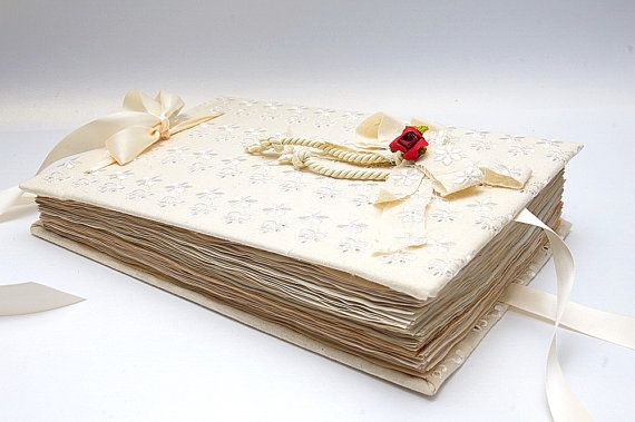 Very romantic Guest book for retro, traditional, old style weddings with vintage style papers. This book is hand handmade with much care. It is