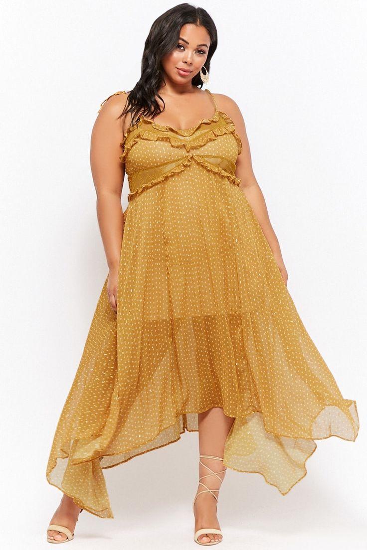 Plus Size Madeline Rose Embellished Ruffled Cami Dress