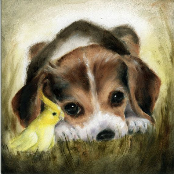FRAMED Beagle Puppy Art Print Shabby Chic by NickiNickiGallery