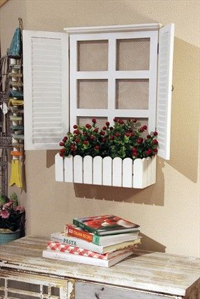 Çiçekli Beyaz Ahşap Pencere Duvar Dekoru C720JJ9200 Chiccy Decolife | Trendyol