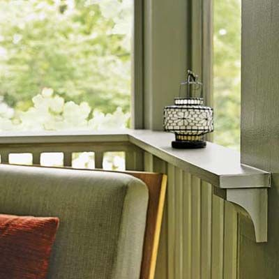 """Cup rail"" design from a This Old House screen porch is fabulous. Looks great and makes small space more functional."