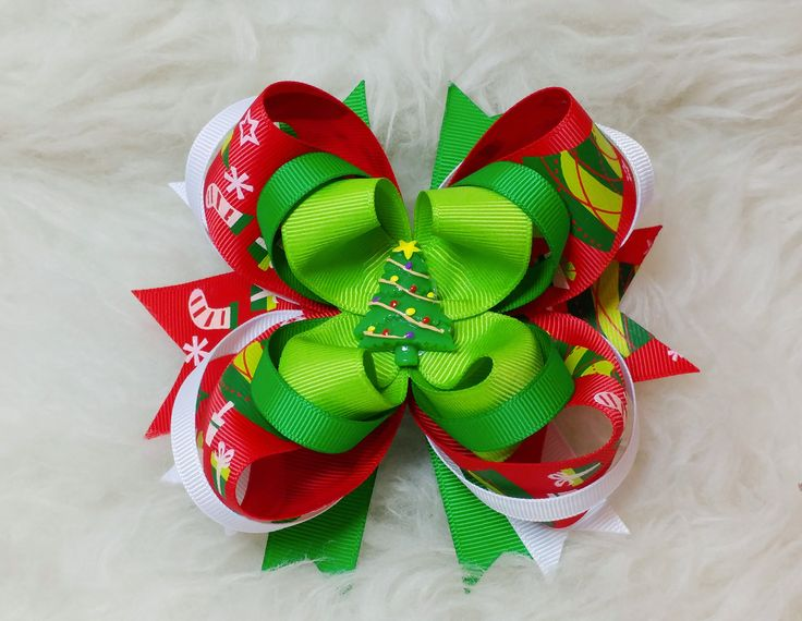 Boutique Stacked Hair Bow - Christmas
