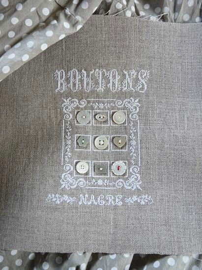 Blog 12-07-13 1; Use any border, then stitch squares around the buttons.  Great idea.