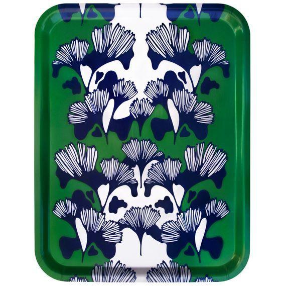 Bricka GINKO grön/blå/vit 48x37cm - Ulrika Lavér
