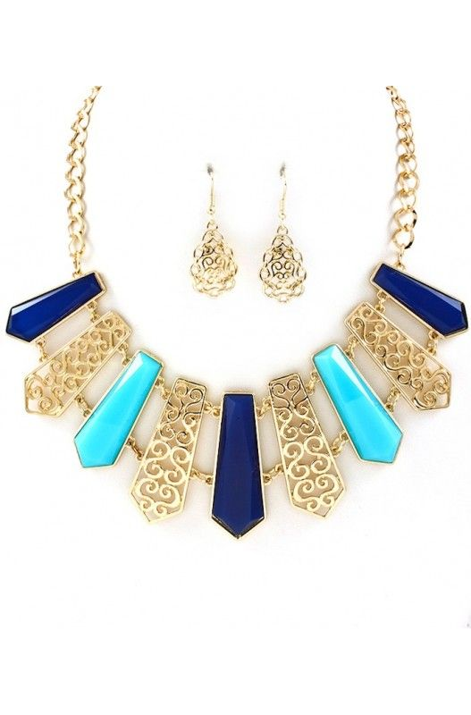 """Framboise Bleue"" Necklace Earring Set- Limited Item In Stock! Available at 50% Discount. Shop Now!"