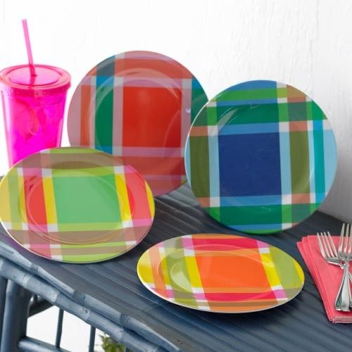 """RSH  Madras Plaid Plates  Price: $28.00 