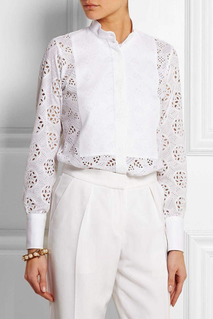 Valentino|Broderie anglaise cotton shirt|NET-A-PORTER.COM