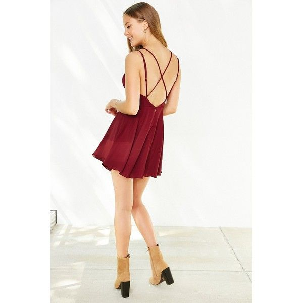 Sparkle & Fade Strappy Chiffon Skater Dress ($49) ❤ liked on Polyvore featuring dresses, maroon, flared skirt, chiffon wrap dress, wrap dress, white wrap dress y flared skater skirt
