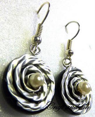 recycled coffe capsule earrings