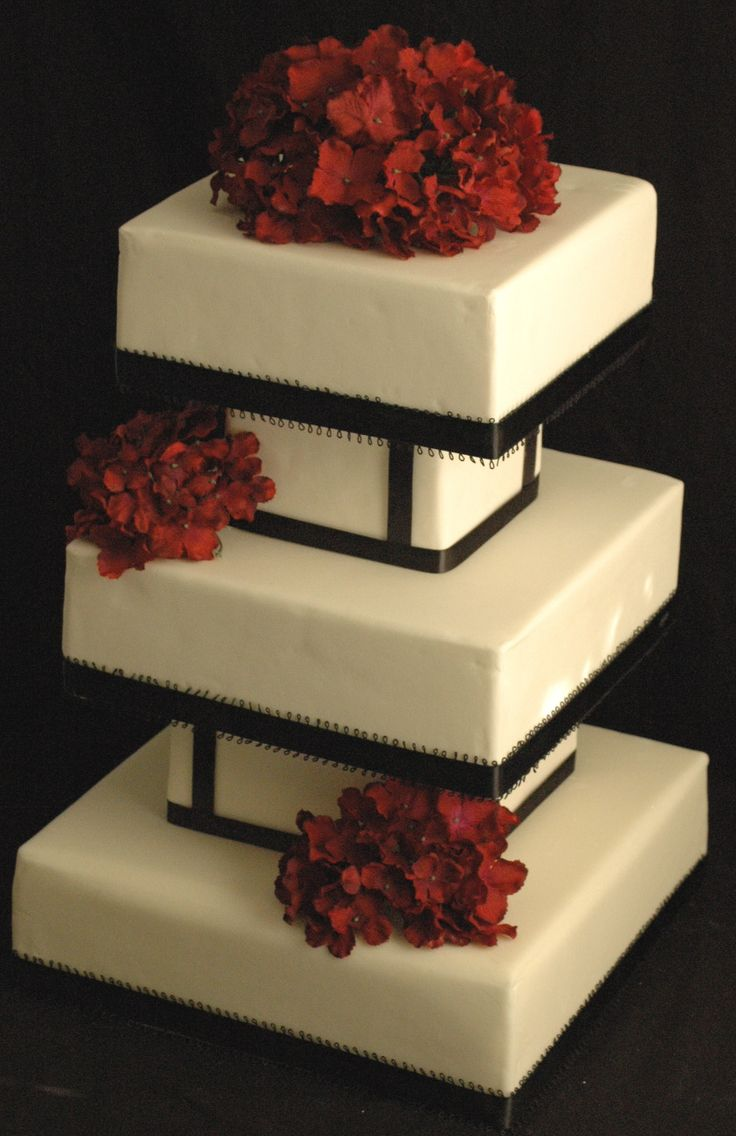 Black White and Red Hydrangea Fondant Wedding Cake Bardstown KY « The Twisted Sifter