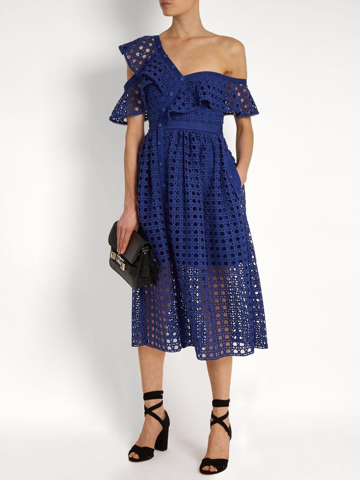 One-shoulder guipure-lace midi dress   Self-portrait   MATCHESFASHION.COM