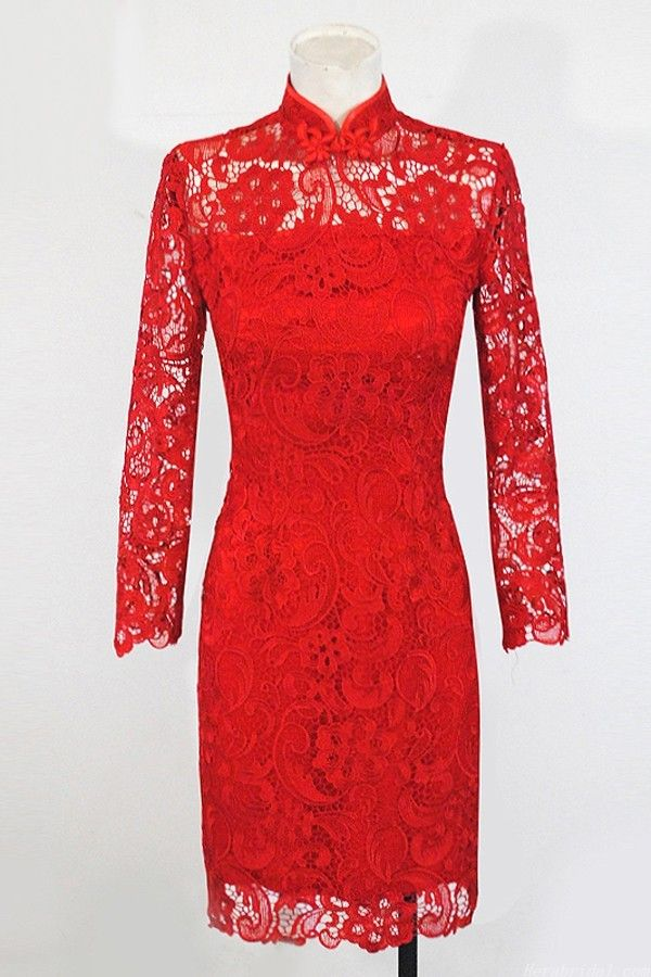 Vintage Column Long Sleeve Red Lace Short Chinese Wedding Dress