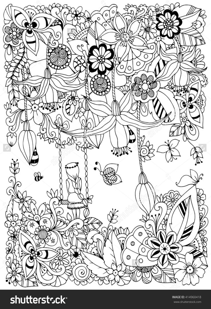 Girl On A Swing In The Flowers Doodle Garden Forest Thumbelina Zen Coloring  Page