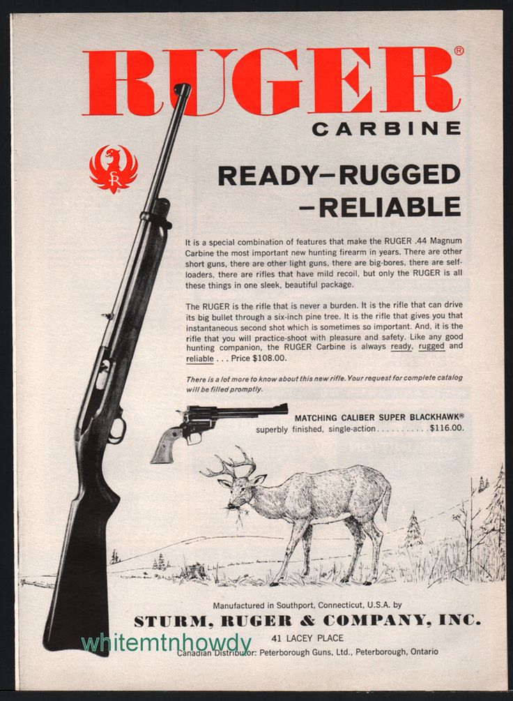 1962 ruger 44 magnum carbine rifle vintage ad other