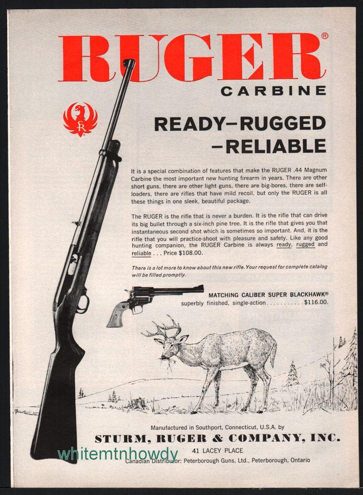 1962 RUGER .44 Magnum Carbine Rifle Vintage AD : Other ...