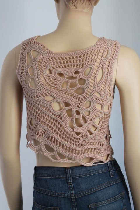 Cotton Beige Freeform Crochet Tank Top Summer Women by levintovich