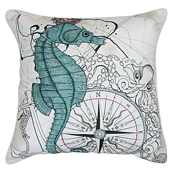 Take an underwater trip in your décor with the quality cotton and embroidery of the Horsy Cushion from One Duck Two.