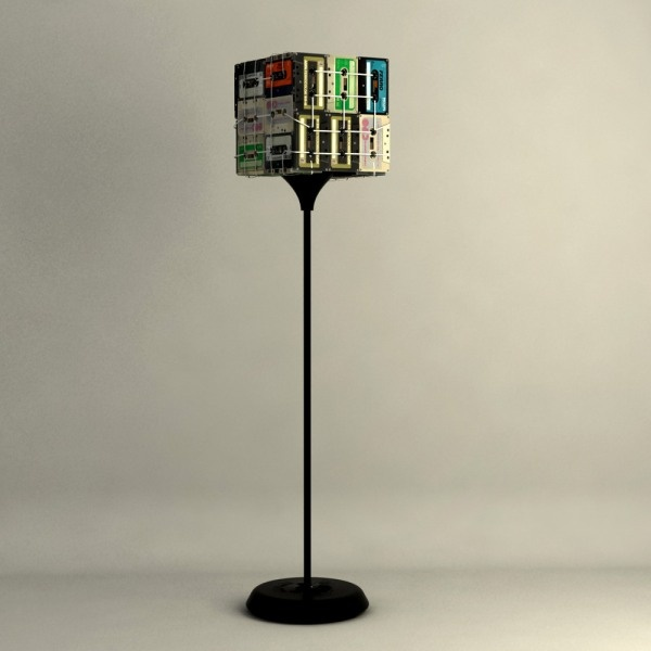 upcycled lamp - old cassette tapes