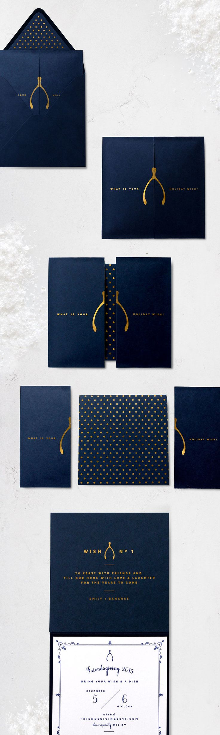 Navy, White & Gold Wishbone Invitation | Friendsgiving 2015 | Sugar & Gold