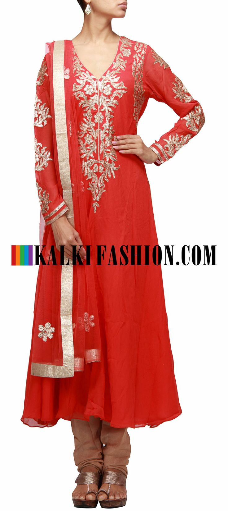 Buy Online from the link below. We ship worldwide (Free Shipping over US$100) http://www.kalkifashion.com/dark-peach-a-line-suit-embroidered-in-applique-work.html Dark peach A-line suit embroidered in applique work