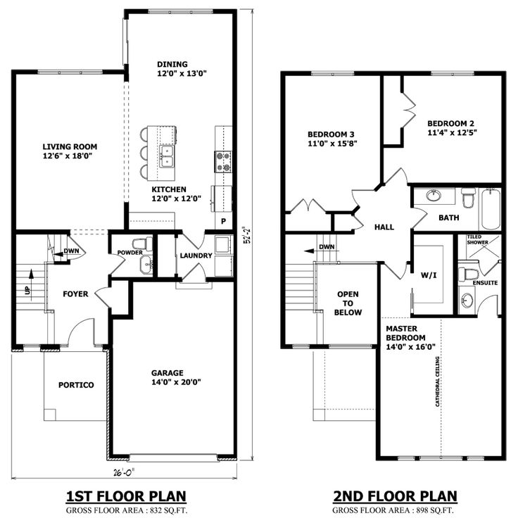 simple rectangle two story floor plans with roof top deck | The Toronto two storey house plan