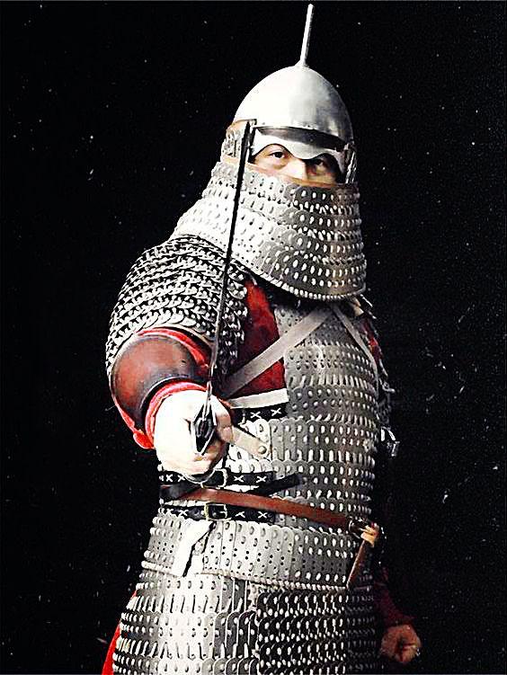 armadura laminar muy pesado de un jinete Jin Algunos historiadores se han referido a estos caballería pesada como catafractas o clibanarii, en referencia a su alrededor apariencia idéntica a la caballería persa pesado de los siglos 4-7.