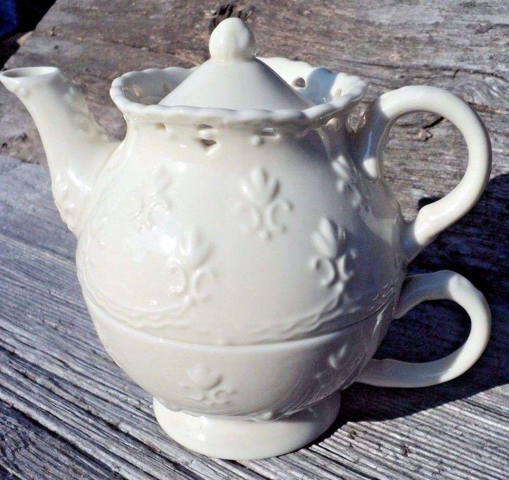 Skye McGhie Cream Lace Stacked Teapot Tea For One Fine Porcelain Fleur De Lis   eBay