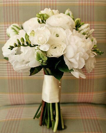 Wedding Bouquet Of: White Peonies, White Ranunculus, White Freesia, Green Parrot Tulips & Greenery/Foliage Hand Tied With An Ivory Satin Ribbon & Corsage Pins
