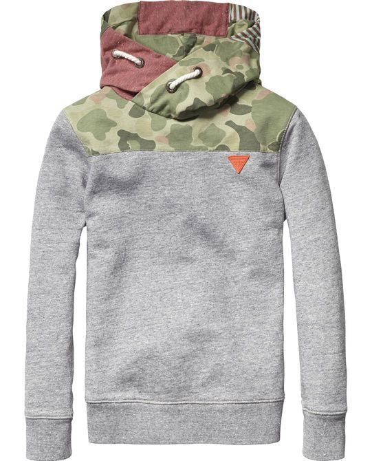 Patchwork Hooded Sweater | Sweat | Boy's Clothing at Scotch & Soda
