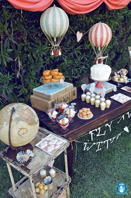 Fly Away - Tablescaping with globes and suitcases and hot air baloons