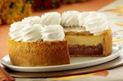 Recipes-Cheesecake Factory pumpkin pecan cheesecake, whole from side, t