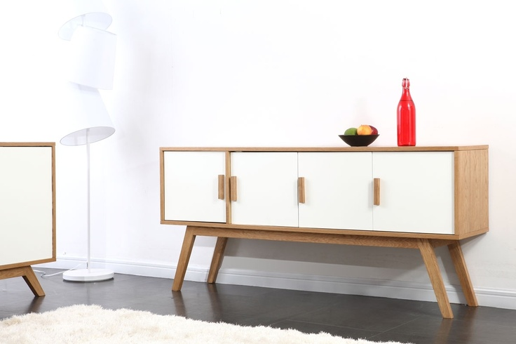 buffet bois naturel et blanc 4 portes helia buffet and design. Black Bedroom Furniture Sets. Home Design Ideas