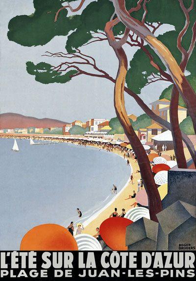 Vintage Cote D'Azur French Riviera Travel Beach Poster #riviera #essenzadiriviera