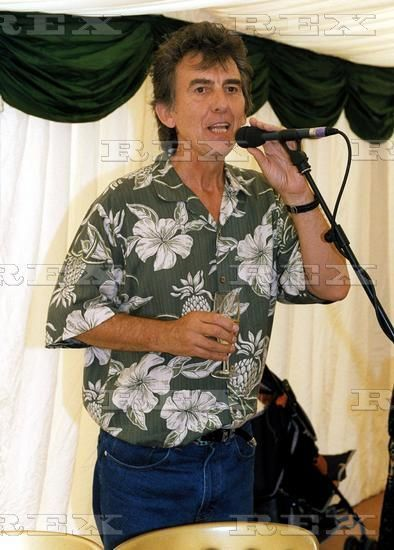 """thateventuality: """"George Harrison, best man at Joe Brown's 2000 wedding (Olivia and Dhani were of course also in attendance), with Henry Gross, Roger Glover, Jon Lord, Alvin Lee, Jim Marshall, Burt..."""
